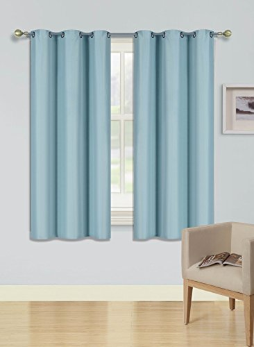 2-PC Solid Blackout Room Darkening Panel Curtain two Sets Small Window Drapes Treatments of 37 Wide x 63 Length Each for Bedroom and all rooms (Light Blue, 37
