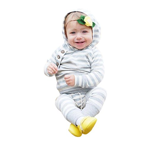Leegor Newborn Baby Soft Cozy Outfits Hooded Bottom Shirt Tops +Stripe Long Pants (6-12M, Gray)