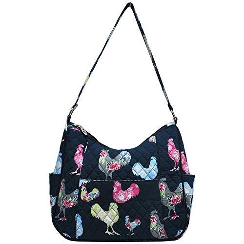 (Ngil Quilted Cotton Hobo Shoulder Bag (Rooster Navy))