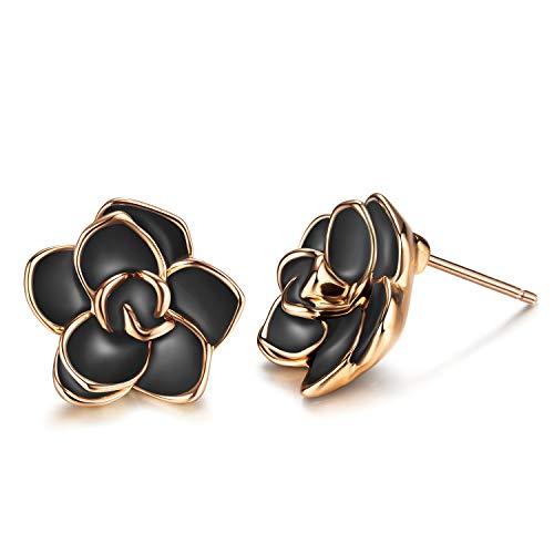 AllenCOCO 18K Gold Plated Black Rose Flower Stud Earrings for Women (Large Black)