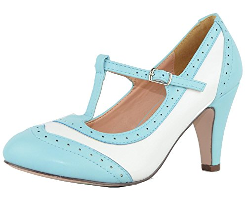 Chase & Chloe Dames T-strap Oxford Mary Jane Pump Lichtblauw / Wit