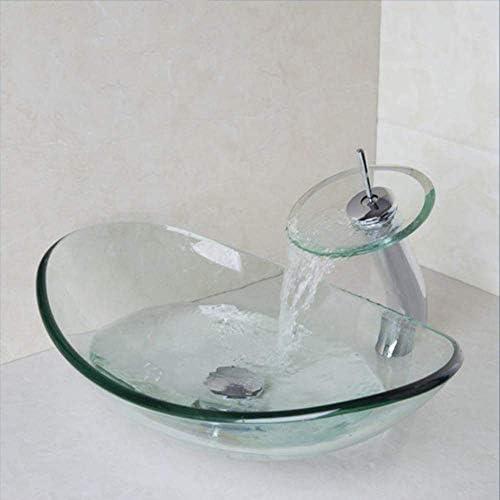 ゆば インゴット形状ラウンドバスルームアート洗面台オーバルクリア強化ガラス容器シンク滝クローム蛇口セット
