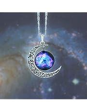 عقد تشوكر مع سلسلة فضة بشكل القمر مع قلادة بتصميم المجرة