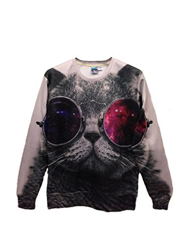 Pink Queen Pullover Round Collar Sunglasses Cat White Sweatshirt Sweater Hoodie (XL)