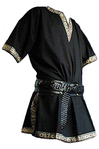 (Men's Vintage Medieval V-Neck Shirt Pirate Warriors Costume Gothic Short Sleeves Viking Clothing (L, Black))