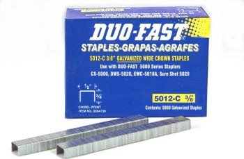 20 Pack Duo-Fast 5012C 3/8'' Length x 1/2'' Crown 20 Gauge Staples 5000 per Pack (4739) by Duo-Fast