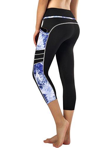 Zinmore Women's Capri Yoga Pants Exercise Running Workout Leggings with Pockets (Large, Capri Printed-62) ()