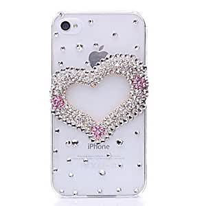 Clubs Heart Pattern Metal Jewelry Back Case for iPhone 4/4S