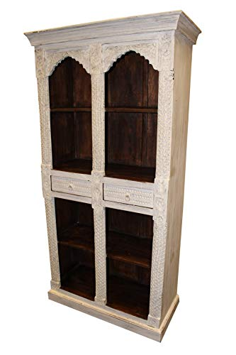 Mogul Interior Antique White Dark Brown Indian Style Arch Bookcase Solid Teak Wood Two Drawers Vintage Bookshelf Storage Cabinet (Teak Bookcase Cabinet)
