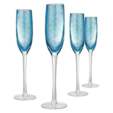 Artland Misty Flute (Set of 4), 5 oz, Aqua