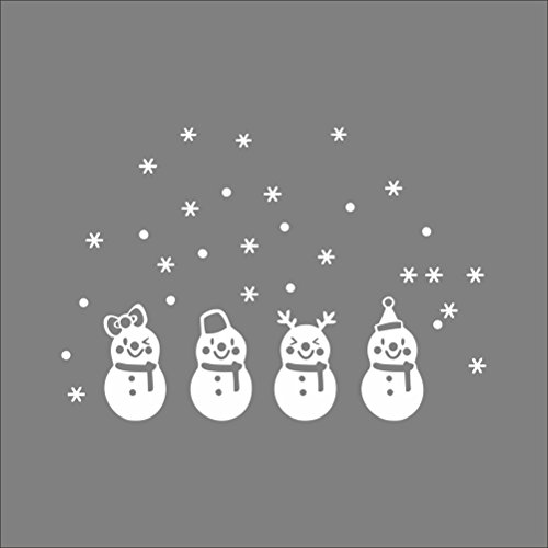 Tinksky Christmas Snowflake Window Stickers PVC Clings Removable Snowman Wall Decals for Merry Christmas Decoration Christmas Birthday Gift for Children