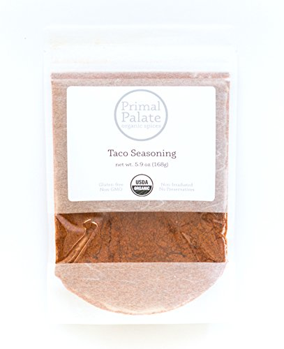 Certified Organic Spice (Primal Palate Organic Spices, Taco Seasoning, Certified Organic, 5.9 oz resealable bag)