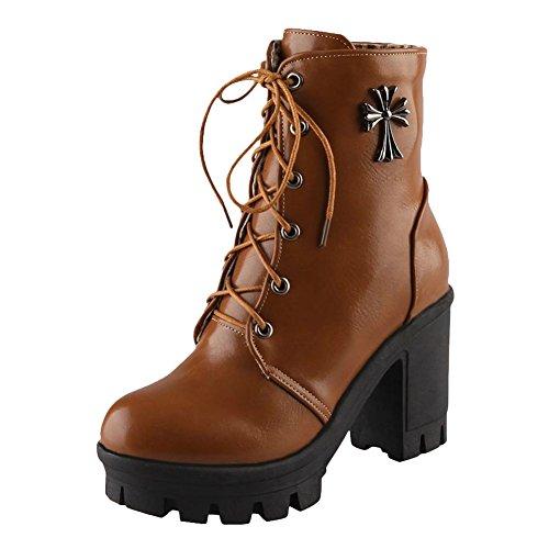 Women's Yellow Carol Dark top Martin High High Modern Boots Heel Shoes Short CPnPqx5