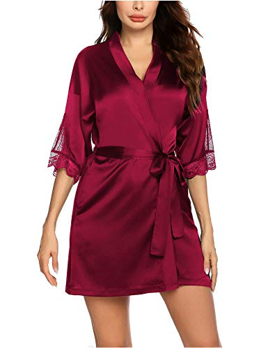 Balancora Kimono ochtendjas voor dames, kort, kant, badjas, zijde, ochtendrok, bruid, satijn, nachtjas, nachtkleding met…