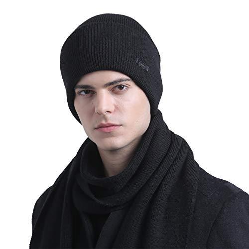 Flannel Knitting Yarn - CACUSS Unisex Winter Wool Beanie Hat Warm Knit Hat Ski Cuff Beanie Thick Fleece Lined Skull Cap (Black)