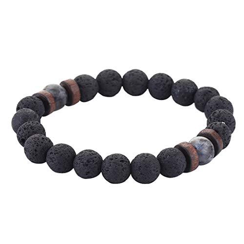 Men Women Tiger Eye Stone Beads Bracelet Elastic Natural Stone Yoga Bracelet Bangle Volcanic Lava Stone Round Loose beads Natural Stone Rock Ball DIY Beads Jewelry Bracelet Making Gift (Black) from baskuwish