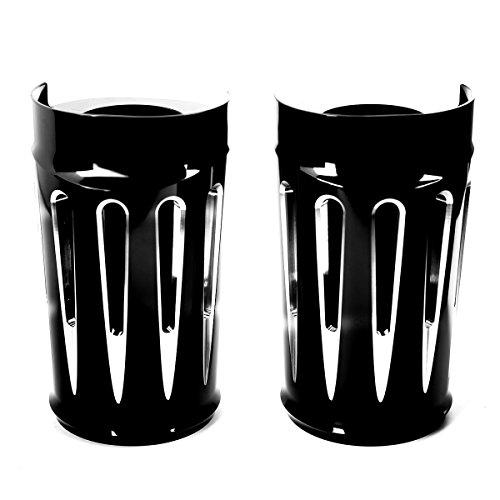 Shallow Cut Black Fork Boot Set Slide Cow Bells For Harley Street Glide Road King FLHR 2014-2018
