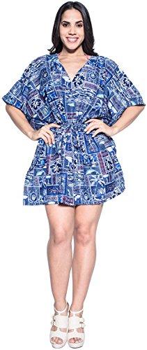 La Leela copa vino todo en 1 desgaste dsalón Caribe likre vestimenta informal túnica superior cordón ropa playa más Szie kaftan elástico señoras la piscina fiesta en la playa encubrimiento dcorto Azul Real
