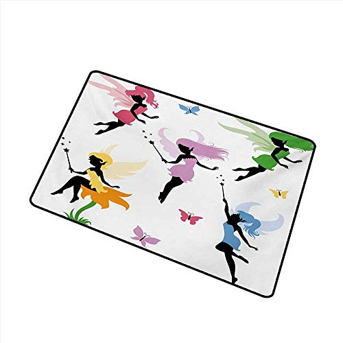 Axbkl Waterproof Door mat Fantasy Cute Pixie Spirit Elf Fairies Flying with Butterflies Girls Princess Flowers Design W20 xL31 Environmental Protection