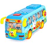 Early Education 1 Year Olds Baby Toy Happy Shaking School Bus with Light/Music for Children & Kids Boys and Girls