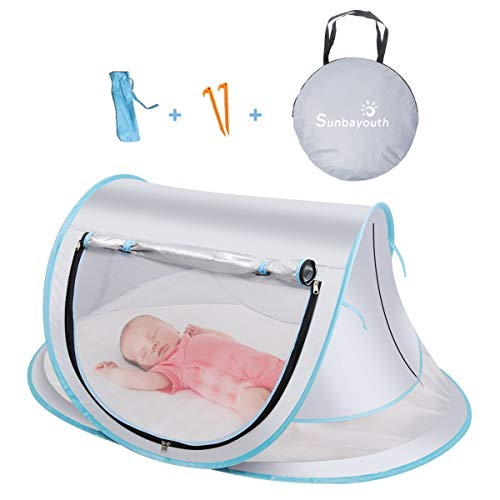 SUNBA YOUTH Baby Tent, Portable Baby Travel Bed, UPF 50+ Sun Shelters for Infant, Pop Up Beach Tent, Baby Travel Crib…