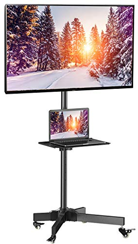 Mobile TV Cart with Wheels for 23-55 Inch LCD LED Plasma Flat Screen TVs - Height Adjustable Shelf Stand Holds up to 55lbs - Movable Monitor Holder with Tray Max VESA 400x400mm ()