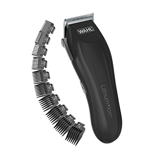Wahl Clipper Lithium-Ion Cordless Haircutting Kit - Rechargeable Grooming and Trimming Kit with 12 Guide Combs - By The Brand Used By Professionals - Model 79608 (Clipper Hear)
