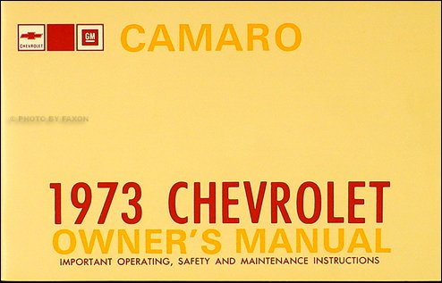 1973 Camaro Owner's Manual Reprint LT RS Z28
