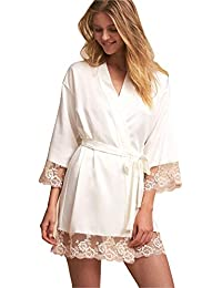 0fdc50d295 Women Robes Lace Edge Wedding Party Loungewear Nightgown Long Bathrobe  Pajamas Sleepwear with Belt