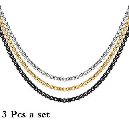 3MM 18k Real Gold Plated Black Square Rolo Chain Stainless Steel Round Box Chain Necklace Men Women Jewelry