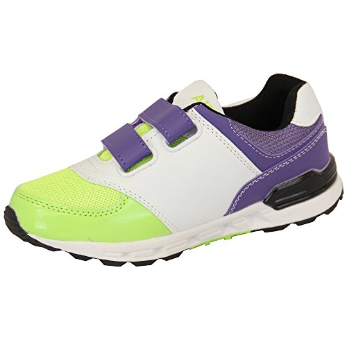 ... Mädchen Turnschuhe Kinder Air Tech Schuhe Klettverschluss Netz Jogging  Sport Fitnessstudio Designer Neu Violett/Weiß ...