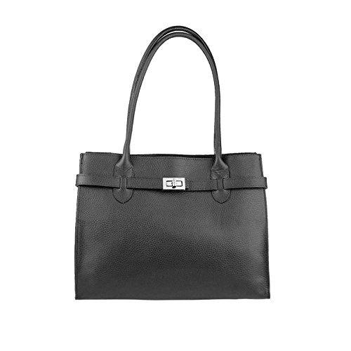 OBC Made in Italy Damen Leder Shopper Umhängetasche Tasche Schultertasche Tablet/Ipad bis ca. 10-12 Zoll Schwarz 34x28x13 cm