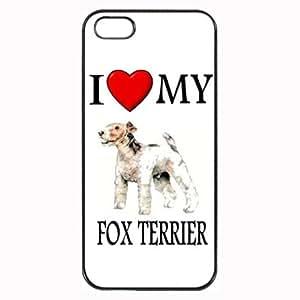 Custom Fox Terrier I Love My Dog Photo iPhone 4 4S Case Cover Hard Shell Back