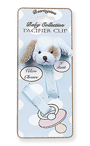 Bearington Baby Waggles Plush Blue Puppy Dog Pacifier Holder with Satin Leash and Clip