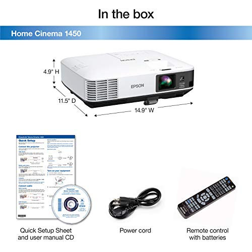 Epson HC1450 Home Cinema 4200 lumens white brightness 3LCD with MHL Video Projector