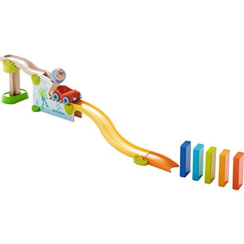 HABA Kullerbu Theme Set - Jump into Car Dominos - 15 Piece Playset can be Enjoyed as a Standalone Set or as an Expansion to Any Kullerbu Layout -