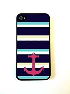 TYH - iPhone 4 Case - Hard Capsule Case iPhone 4/4s Case - Large Nautical Stripes Anchor ending phone case