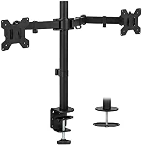 "Mountify Dual LCD/LED Monitor Desk Mount Stand Heavy Duty Fully Adjustable fits 2 Screens up to 27"" (Stand M-001D)"
