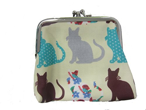 Miss Lulu Designer Oil Cloth Clasp Coin Purse (Cat Beige) from Miss Lulu