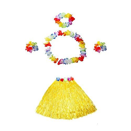 TRADERPLUS Girl Elastic Hawaiian Hula Dancer Grass Luau Skirt with Flower Costume Set for Kids -