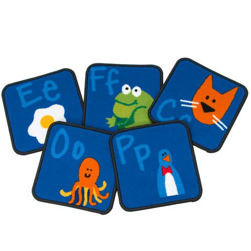 """Carpets for Kids 9626 A to Z Fun with Phonics Carpet Squares 12"""" x 12"""" Blue"""