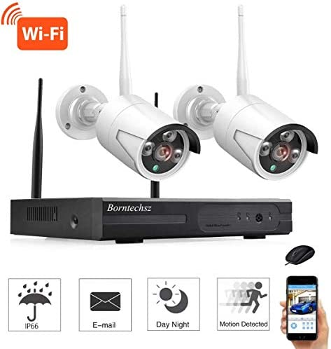 2CH HD wireless video'surveillance camera'system, WiFi NVR kit 2PCS 1.0MP wireless waterproof indoor and outdoor IP camera, plug and play, with motion alarm, 65FT night vision, easy remote access