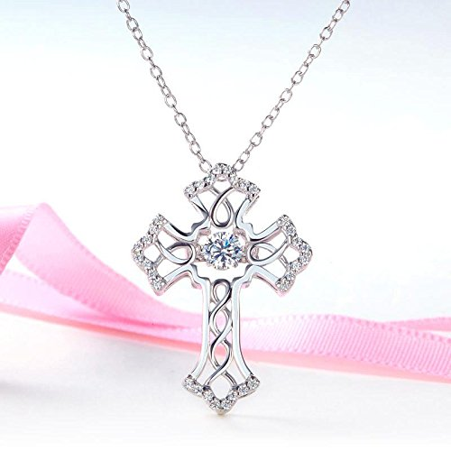 Exquisite Selebrity Vintage Style Cross Dancing Stone Pendant Necklace Solid 925 Sterling Silver 8080