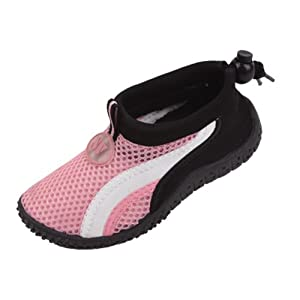 New Starbay Brand Toddler's Pink Athletic Water Shoes Aqua Socks with White Streak Size 6