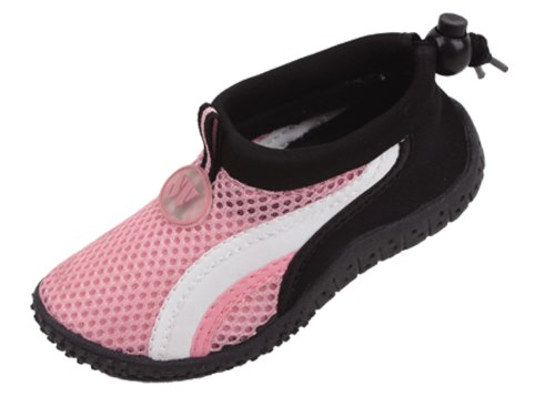 New Starbay Brand Kid's Pink Athletic Water Shoes Aqua Socks with White Streak Size 2 (Brand Pink Shoes)