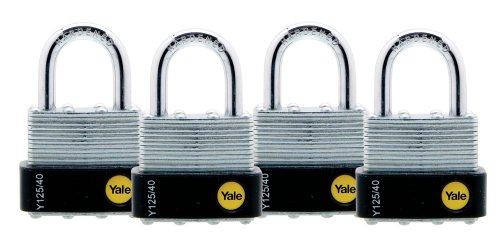 Yale Y125/40/122/4 Laminated Steel Padlock with Brass 5-Pin Key Cylinder, 1-9/16-Inch Wide, 4-Pack (Keyed Alike)