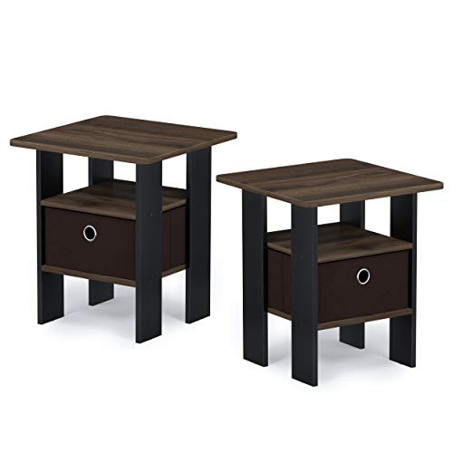 Furinno 2-11157CWN Andrey 2-Pack Bin Drawer End Table Nightstand, Walnut/Dark Brown