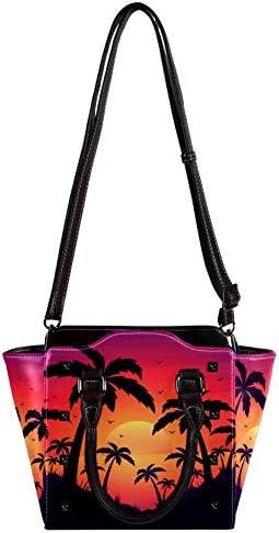 Nananma Sacs à main en cuir avec poignée supérieure - Pour femme - Sac à bandoulière - Sac à bandoulière - Motif tropical palmier et coucher de soleil - Sac à main