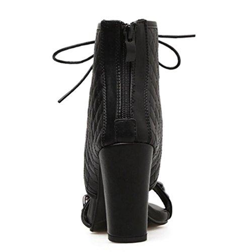 LINYI Women's Walking Shoes Artificial PU Chain Decoration Fish Mouth Open Toe Chunky Heel Sandals Black WaNmOn6l80