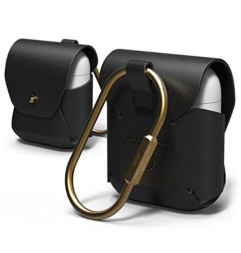 elago AirPods Leather Case [Black] - [Genuine leather][Added Brass Ring Holder][True Fit]  for AirPods